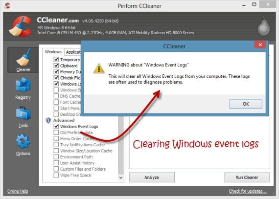 Clean Windows Event Logs Using CCleaner
