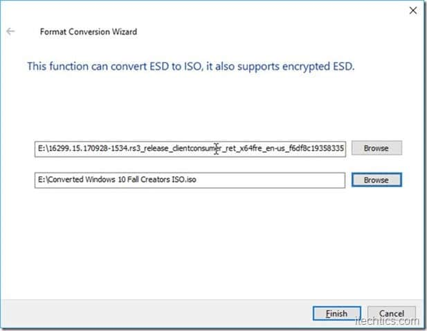 ESD to ISO format conversion wizard