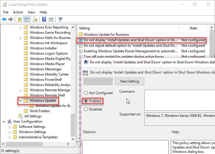 Disable or Bypass Pending Updates on Restart/Shutdown In Windows 10