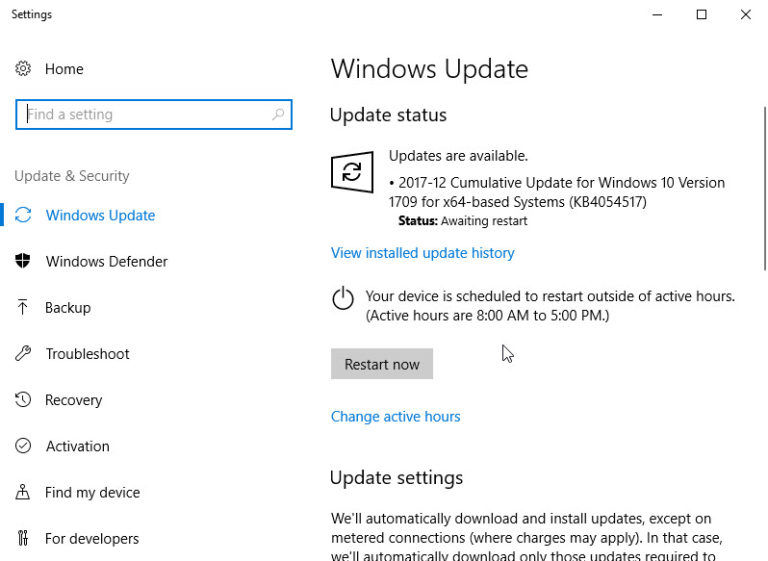 KB4054517 for Windows 10 version 1709 download and installation