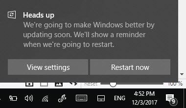 Restart Windows 10 after update