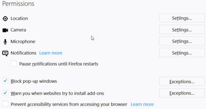 Firefox new privacy option