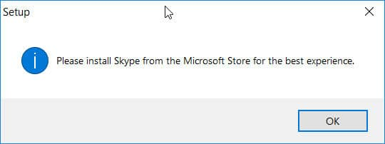 Please install Skype from the Microsoft Store for the best experience.