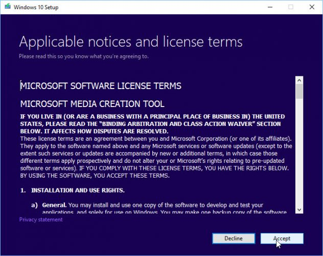 Windows 10 Media Creation Tool license agreement