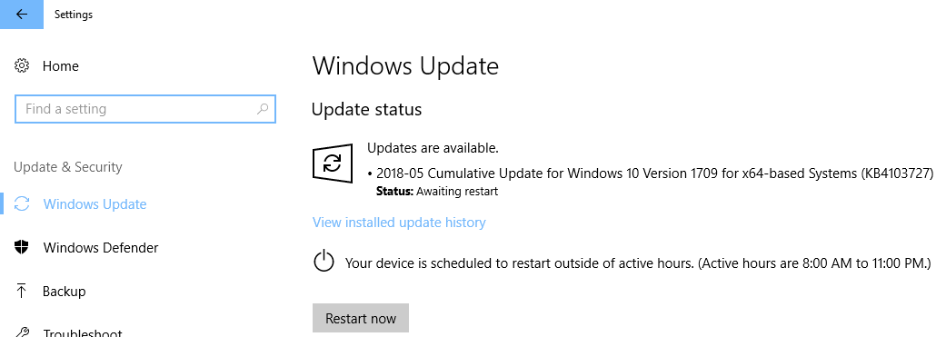 KB4103727 Update being installed on Windows 10 Version 1709