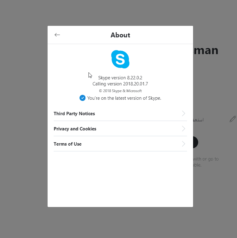 Skype 8 22 About Section