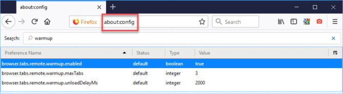 Browser tab warming enabled by default in Firefox 61