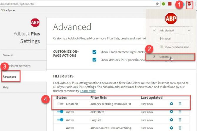 Enable Adblock Warning Removal List in Chrome