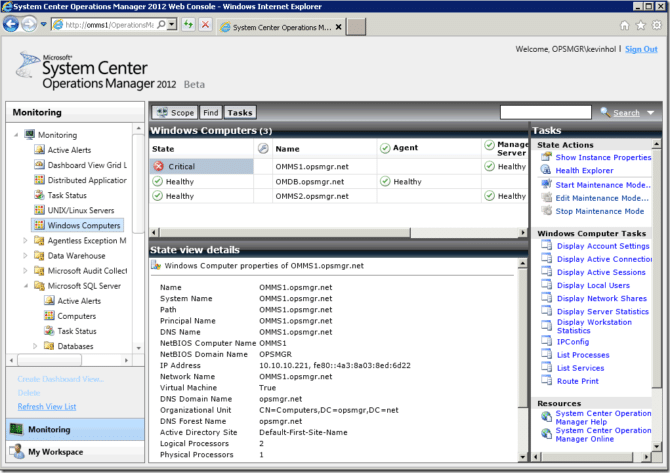 Web Console for System Center Operations Manager