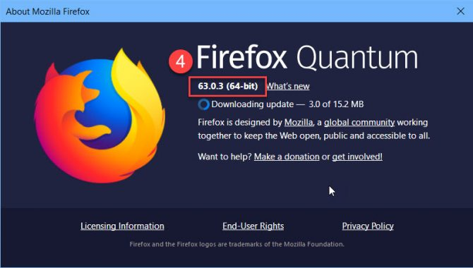 About Firefox displaying Firefox version
