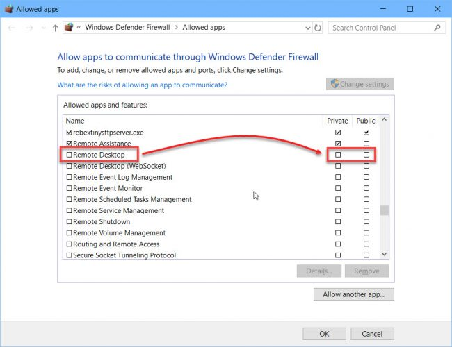 Allow Remote Desktop through the firewall private or public