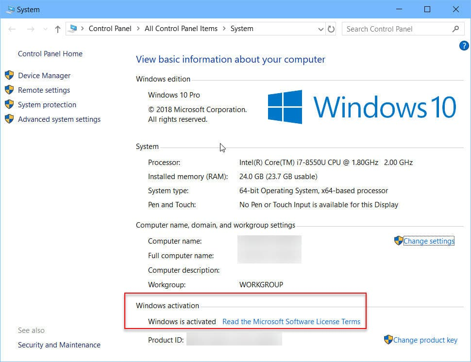 Check Windows activation using system properties