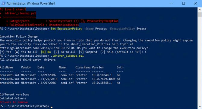 Run PowerShell script to uninstall old drivers