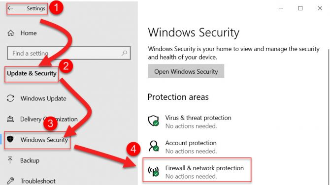Windows Firewall and network protection