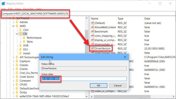 Changing driver version in Windows Registry