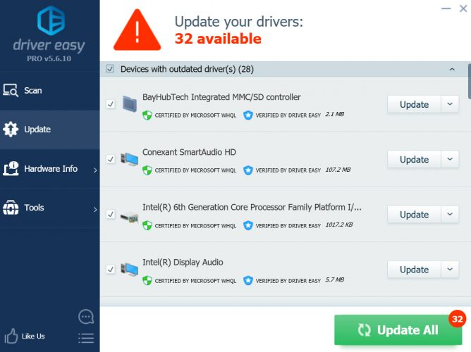 Driver updates available
